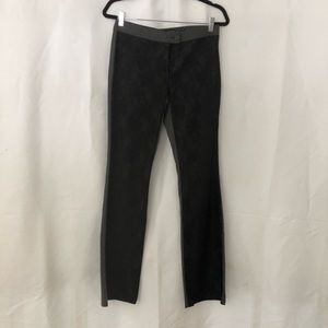 Aria Gray pants with black lace overlay on front